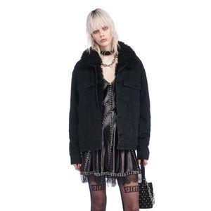 Boyfriend Denim Jacket with Fur Lining